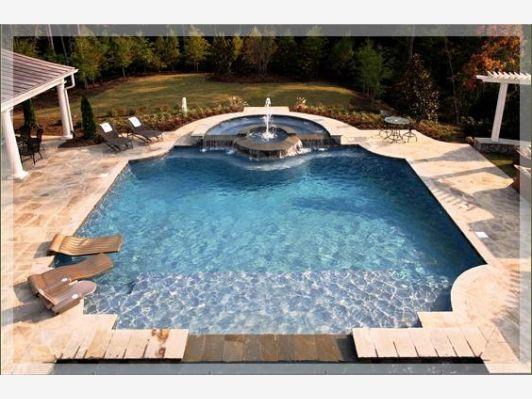 High end backyard pool home and garden design idea 39 s for Decking at end of garden