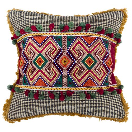 Moroccan- Boho Cushion, stunning embroidered design, very on trend! amazing detail and beading in the centre of the cushion, colours plum, green, yellow, burnt orange, mustard. Fabric, canvas and cotton. Measurements; 45x45x10 cm $43.25