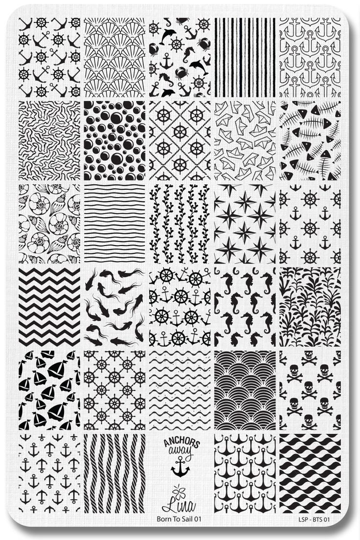 Here's a stamping plate with everything nautical you can think of. With designs like fish, seahorse, skulls and crossbones, anchors, boats, coral pattern, sea shells, zig zag pattern, scale pattern, a