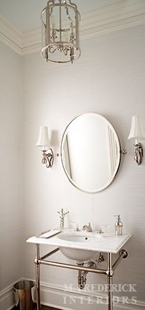 Website Photo Gallery Examples  with Visual Comfort Lighting Round Edwardian Entry Lantern as well as French sconces flanking oval pivot mirror on light gray grasscloth wallpaper over