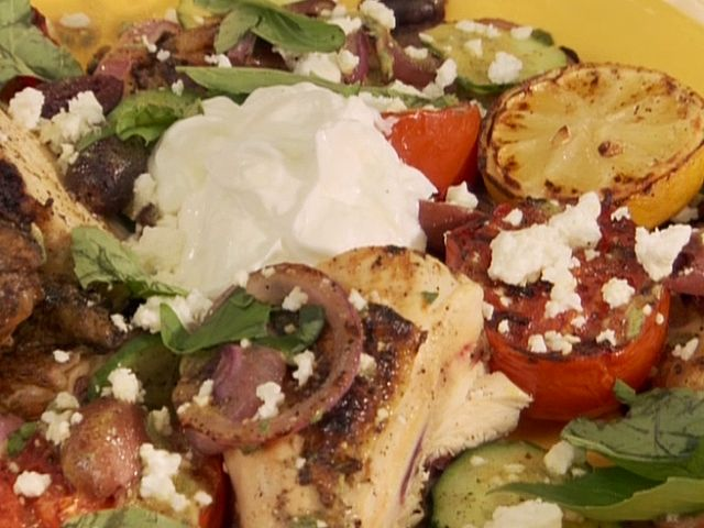 Butterflied Chicken Greek Style from FoodNetwork.comFood Network, Bobby Flay, Easy To Following Butterflies, Chicken Recipes, Butterflies Chicken, Style Recipe, Chicken Greek, Greek Style, Greek Chicken