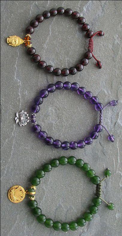 Bracelet Mala Prayer Beads with Buddha and Lotus Charm