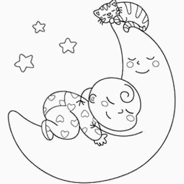 Sleeping Baby Coloring Page Moon Coloring Pages Baby Coloring