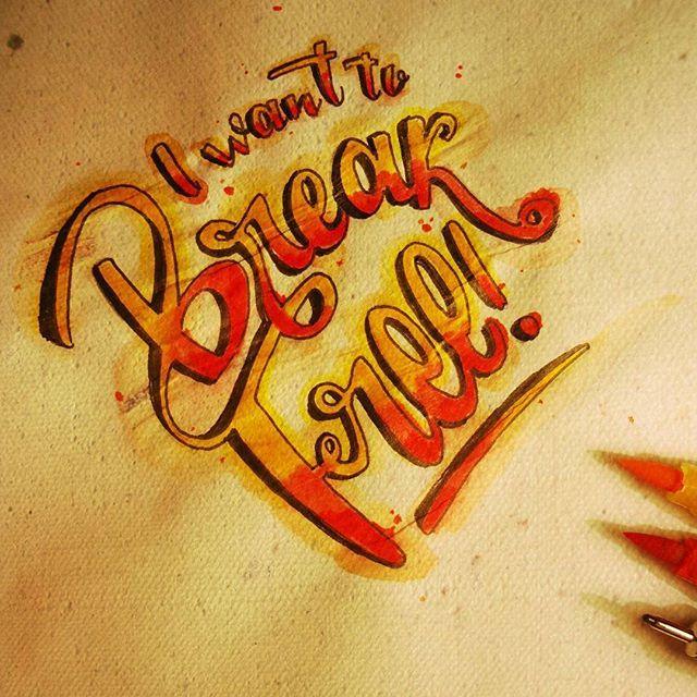 Y dice: I- want- to- #Break #Free  #Queen #Lettering #Lyrics #Freddie #Mercury