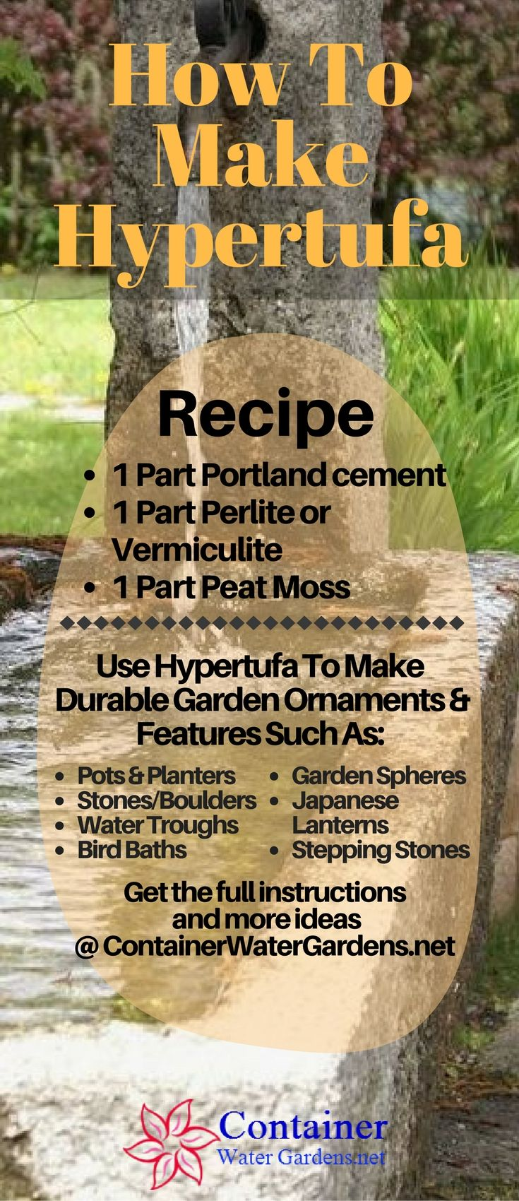 See the full instructions and outdoor decorative objects you can make with hypertufa.