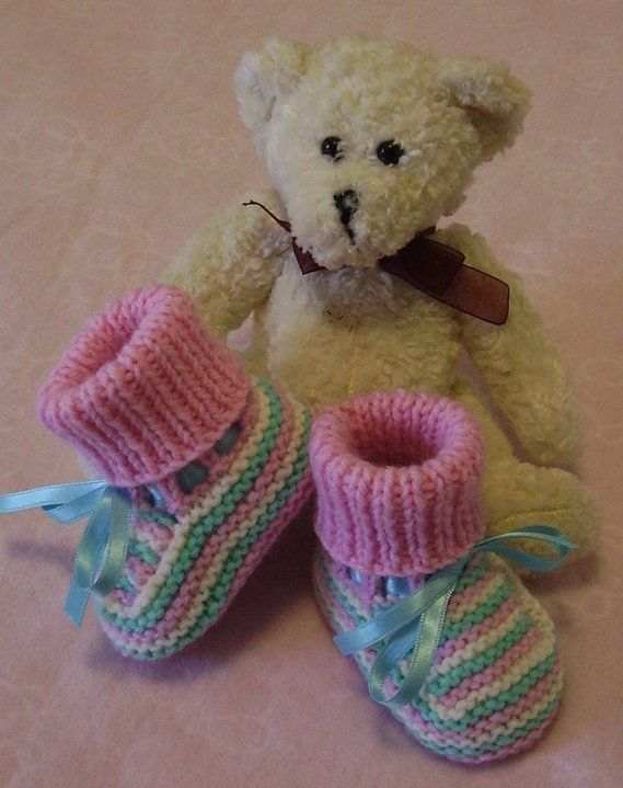 Traditional style booties. Handknitted by me. Available in loads of different colours, designs and sizes premmie/newborn - on website or FB page. Butterfly Babywear Boutique.