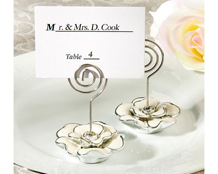 accent your summer wedding with a taste of flora and elegance using a memorable memento your guests will adore our white rose design place card holder