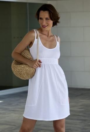 Vestido playero estilo Ibicenco, con tirante doble en color Blanco.  Marca Massana. Modelo_L137286.  39,50€