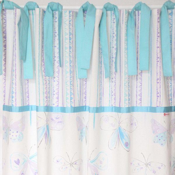 Gardinen & Vorhänge - Vorhang Gardine Schmetterlinge türkis 140 x 240cm - ein Designerstück von MaruMaru bei DaWanda