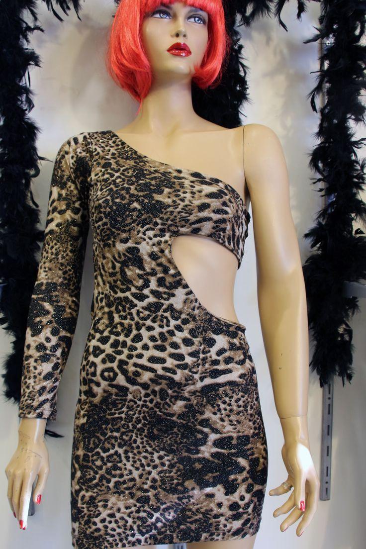 Leopar Desenli Dekolteli Tek Omuz ve Tek Kol Şık Mini Gece Elbise Modelleri Parti Elbiseleri Club wear