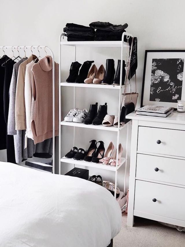 Clothing/shoe storage in bedroom (outside of closet)