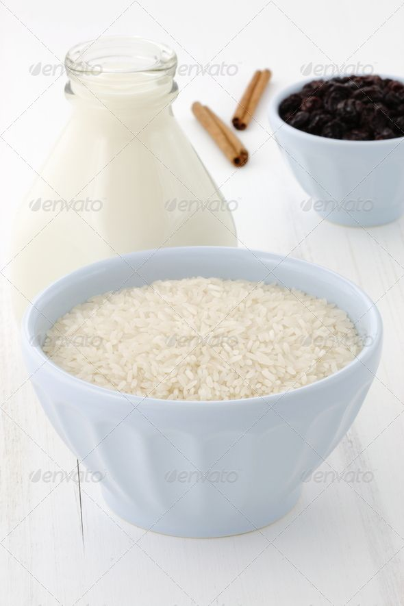 Rice pudding ingredients ...  Cream Dessert, Rice Pudding, Tapioca, arroz con leche, arroz doce, basmati, bowl, breakfast, budino di riso, cereal, cereal food, cinnamon, condensed milk, cooked, cream, creamy, cuisine, dairy, dessert, drink, edible, food, fresh, gourmet, healthy, honey, ingredient, meal, milk, milk bottle, natural, nature, nutmeg, nutrient, nutritious, pudding, pudding rice, raisins, raw, recipe, rice, rice porridge, snack, spice, sugar, sweet, traditional, uncooked, whitepot