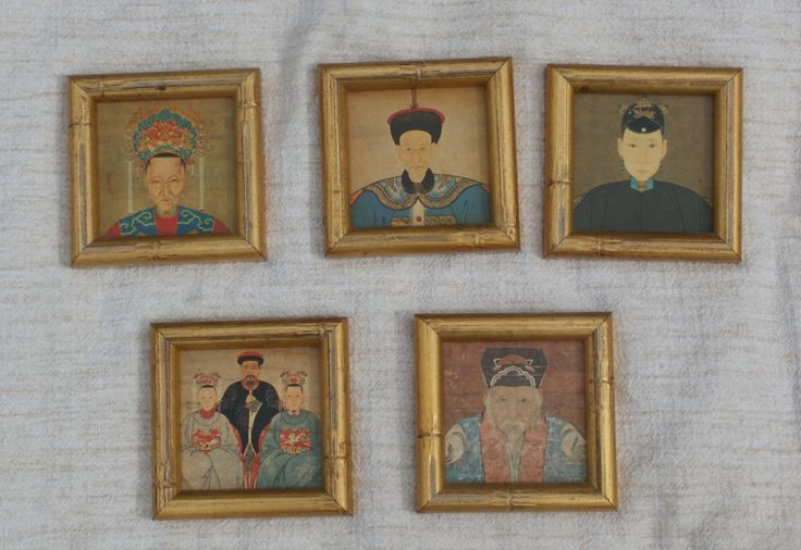 Vintage Neiman Marcus Asian Coaster Set, Made in France, Framed in Gilt Faux Bamboo
