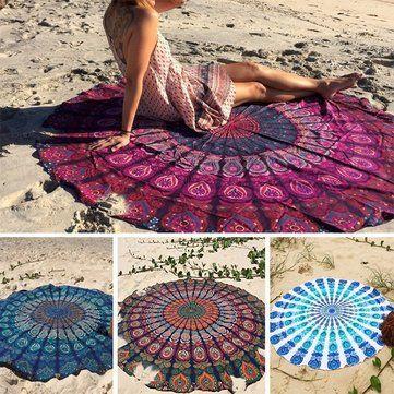 150cm Bohemian Style Thin Chiffon Beach Yoga Towel Mandala Round Bed Sheet Tapestry Tablecloth Silk Scaf - Newchic Mobile.