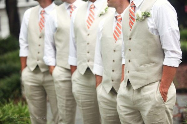 tan wedding apparel, grooms suit, groomsmen suit. THESE are the Colours i want!! Tan, White and Coral!!