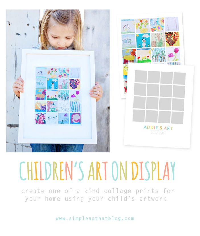 Super cute template & how-to for making a collage out of your child's artwork. Can't wait to try this!!