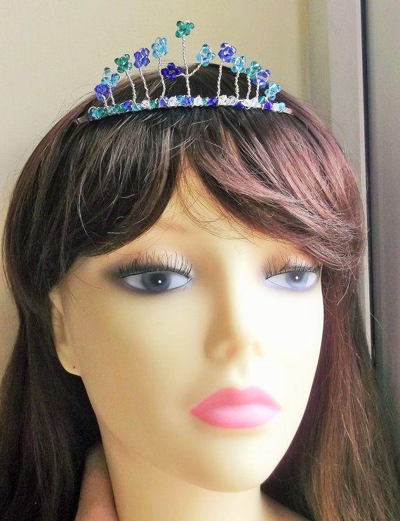 Blue Tiara Beaded headband Bridal Headpiece by fabtasticflowers