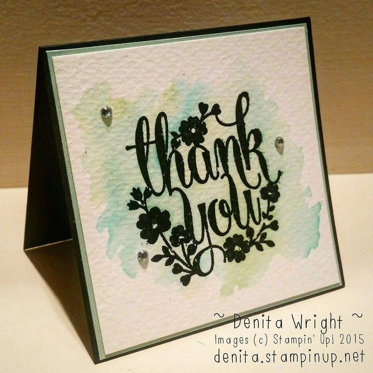 Watercolour notecard embossed in black and using Mint Macaron, Pear Pizzazz & Bermuda Bay ink and an aqua pen. Made by Denita Wright Independent Stampin' Up! Demonstrator Australia  https://www.facebook.com/denitawright.stampinup.net