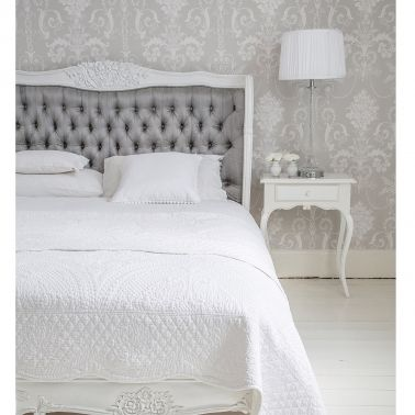Bergerac White & Grey Upholstered Luxury Bed / Bedroom Interior Design French Chic Elegant