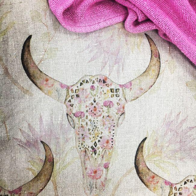 Buckaroo de fleur on 100% linen. Swoon! www.whatnot.co.za