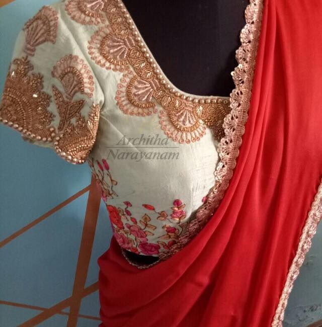 Beautiful designer saree with iory designer blouse with floret lata design hand embroidery thread work and bead work. 17 September 2017