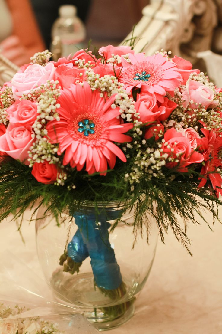 Wedding bouquet- coral gerber daisies and coral roses- bridesmaids bouquets - pageant bouquet style