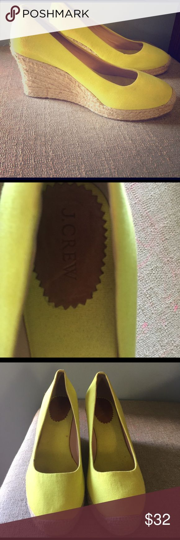 """J Crew Neon yellow espadrilles wedges size 10 Beautiful J Crew neon yellow espadrilles. 3.5"""" wedge. Worn once. Super fun shoe and is the perfect accessory to brighten up any outfit!! Great spring/summer shoe ☀️☀️ J. Crew Shoes Espadrilles"""