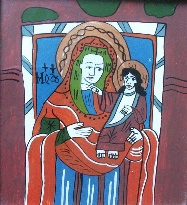 Nicula Madonna and Child Reverse glass painting 22.5 x 20.5 cm