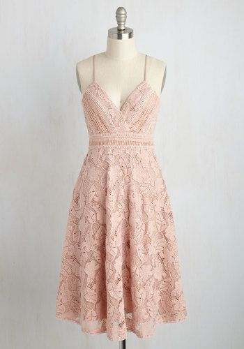 Country Club Couture Dress. Resort culture is expected - sparkling mimosas, light conversation - but you shake up style precedents with this pastel pink dress. #blush #modcloth