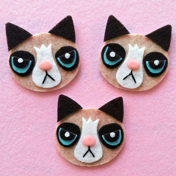 Grumpy Cat Felt Pin Brooch OR Hair Clip You Choose by emandsprout, $7.00