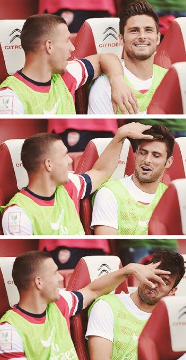 Giroud and Podolski messing about