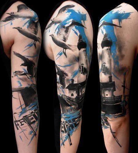 Τατουάζ μανίκι σύνθεση Πουλιά Φάρος