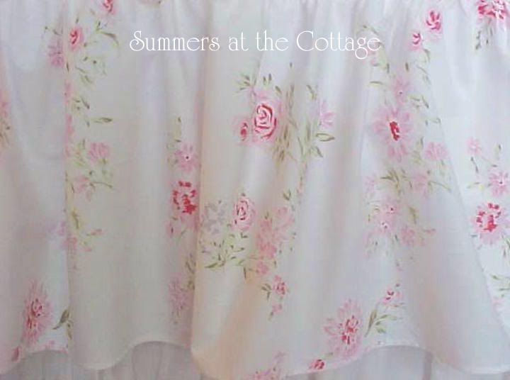 SHABBY COTTAGE CHIC WILDFLOWER PINK ROSES TWIN DUVET COVER