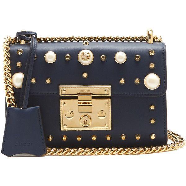 Gucci Mini Padlock embellished shoulder bag ($2,290) ❤ liked on Polyvore featuring bags, handbags, shoulder bags, clear shoulder bag, shoulder bag purse, mini purse, navy purse and navy shoulder bag