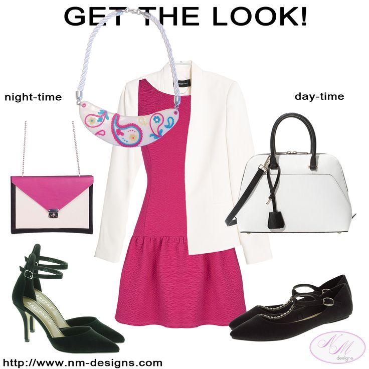 Un collar - dos looks, para el día en la oficina hemos combinado el collar (NM Designs), el vestido (BLANCO) y la americana (MANGO) con unas manoletinas de MARYPAZ y un minicitybag (ZARA). Y para el look de noche: unos zapatos salón de MARYPAZ y un bolso solapa tricolor de BLANCO.