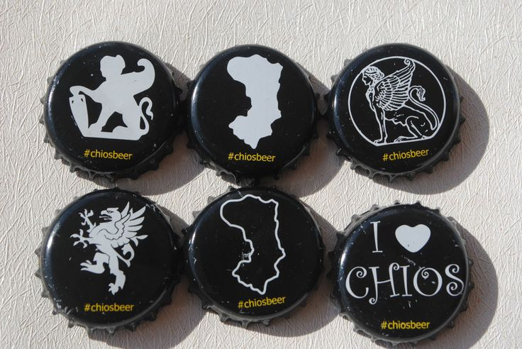 set of 6 assorted crown Chios Greek beer bottle caps