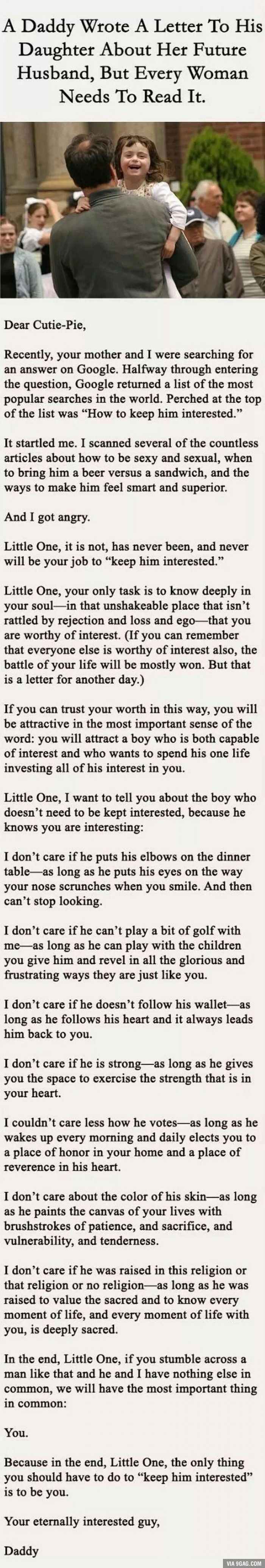 A letter from father to his daughter about picking the right man - unbelievably sweet!