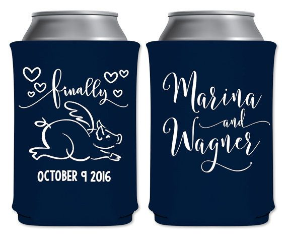 "Wedding Can Coolers Beverage Insulators Koozies Personalized Wedding Favors - Finally | When Pigs Fly Coozies by ""ThatWedShop"" on Etsy 