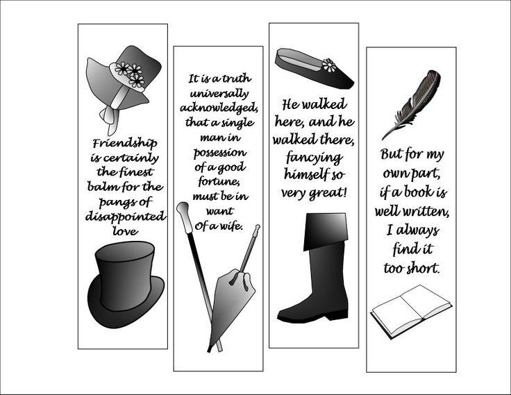 #Printable #Bookmark #Bibliophile #JaneAusten  #DIY by WhimZingers on Etsy $4