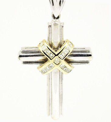 14k Multi Tone Gold SI1,G,Princess Cut 0.82tcw Crossover Diamond Cross Necklace