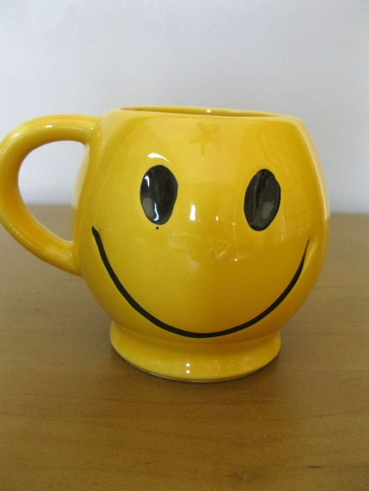 Iconic 70s McCoy SMILEY FACE mug - made in USA - bright yellow - black eyes and mouth - Smiley face cup - collectible mug - 70s fads by oakiesclaptrap on Etsy