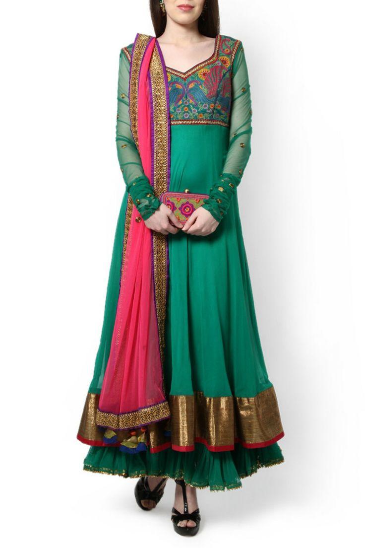 green-layered-anarakali-