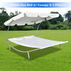 Sun Bed Lounger Parasol Canopy Hammock w/ 2 Pillows Double Pool Deck Garden