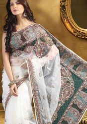 Voguish White Tissue Saree