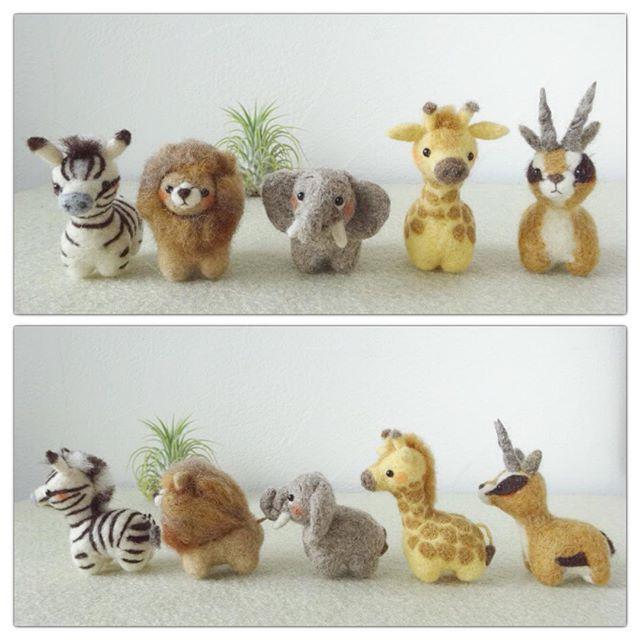 Cute Needle felted wool animals (Via @noawan07)