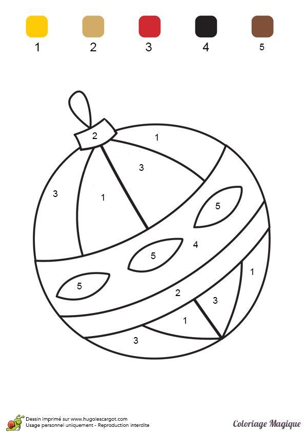 coloriage magique maternelle boule noel à imprimer sur hugolescargot.com