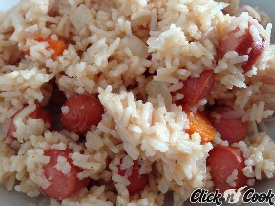 Riz pilaf aux saucisses Knacki, cuisiné dans le Cookeo