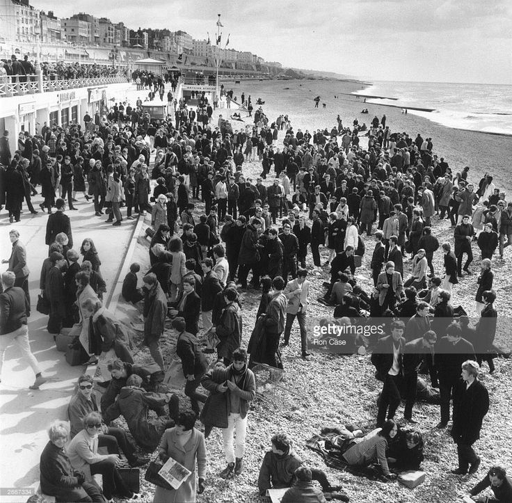 Mods and Rockers invade Brighton Beach in Sussex.