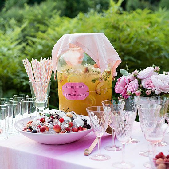 Entertaining Tip: Serve a Signature Drink, especially a pretty peach lemon thyme! Yum!