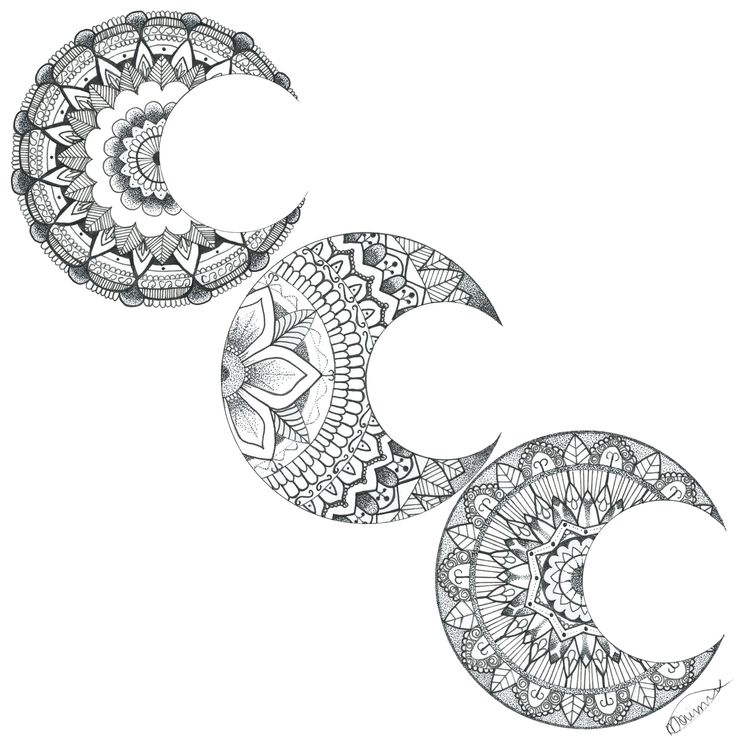 Moon Mandalas  #moon #mandala #tattoo #idea #tattoo #inspiration #freehand #drawing